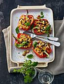 Stuffed peppers with sweetcorn and sheep's cheese