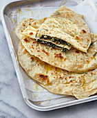Gözleme – unleavened bread filled with spinach and sheep's cheese