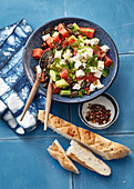 Turkish melon and cucumber salad with sheep's cheese