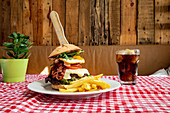 Burger with vegetables and cutlet with French fries