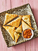 Oven-baked Indian samosas filled with potatoes