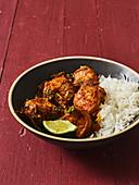 Prawn masala with rice (India)