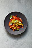 Quick lentil shakshuka with scrambled tofu and basil