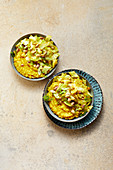 Dhal with ginger-white cabbage and pistachios