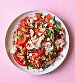 Tomato salad with tuna and feta cheese