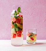 Detox water with watermelon, cucumber and mint