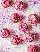Pink vanilla cupcakes with sparkly pearls