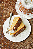 Portuguese cinnamon cake with lemon icing