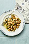 Portuguese chickpea salad with fresh coriander