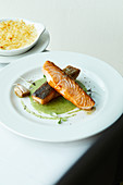Fried salmon with a martini and spinach sauce