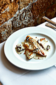 Bass fillets with dried porcini mushrooms