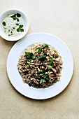 Manzav – lamb rice with mint and pine nuts