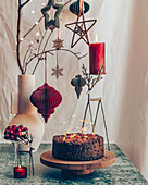 Festive Fruit Cake with Christmas Lights decorations