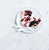 Smashed Blackberry and Halva Parfait