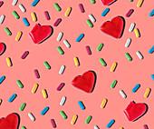 Herzförmige und bunte kleine Geleesüßigkeiten