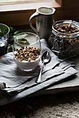 Homemade crunchy muesli with yoghurt