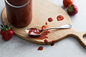 Homemade strawberry and tomato ketchup