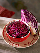 A bowl of red cabbage salad