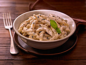 Fusilli with cream sauce and parmesan