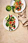 Broccoli salad with blueberries and a tahini dressing