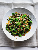 Lentil and grilled rapini bowl