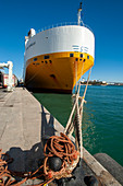 Docked ship, Port of Barcelona, Spain