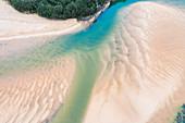 Tidal river at low tide, aerial view