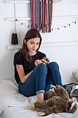 Teenage girl using a Smartphone