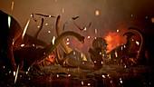 K-T extinction event, illustration