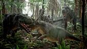 T-rex fighting triceratops, illustration