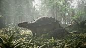 Ankylosaurus and young, illustration