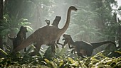 Raptor pack hunting ornithomimus, illustration