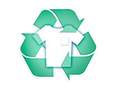 Recycling symbol with t-shirt, illustration