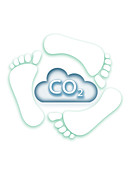 Carbon cloud with footprints, illustration