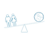 Seesaw scales with people and globe, illustration