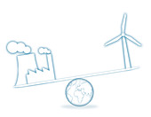 Scales with industry and wind turbine, illustration
