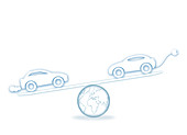 Scales with electric car and fuel car, illustration
