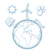 Earth with renewable sources of power, illustration