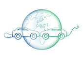 Earth with electric car and fuel car, illustration