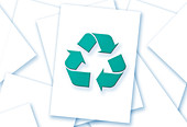 Sheets of paper with recycling symbol, illustration