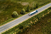 Large freight transporter semi-truck, aerial view
