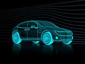 Digital model of a car, illustration