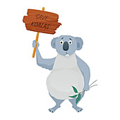 Save the koalas, conceptual illustration