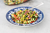 Red bean salad with corn, cucumber, tomatoes
