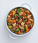 Sweet-and-sour oven-roasted vegetables in a baking dish