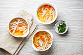Warm healthy homemade chicken soup