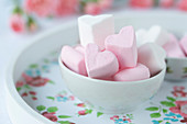 Heart shaped Marshmallow in a bowl