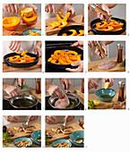 Preparing baked pumpkin with lentils steps
