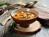Cream of pumpkin soup with chickpeas