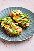 Avo Slices on Toast with Boiled Eggs, Steamed Asparagus and Harissa Mayo